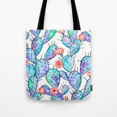 Rainbow Watercolor Cactus Pattern Tote Bag