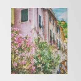 Monterosso Pink Flowers, Cinque Terre, Italy Throw Blanket