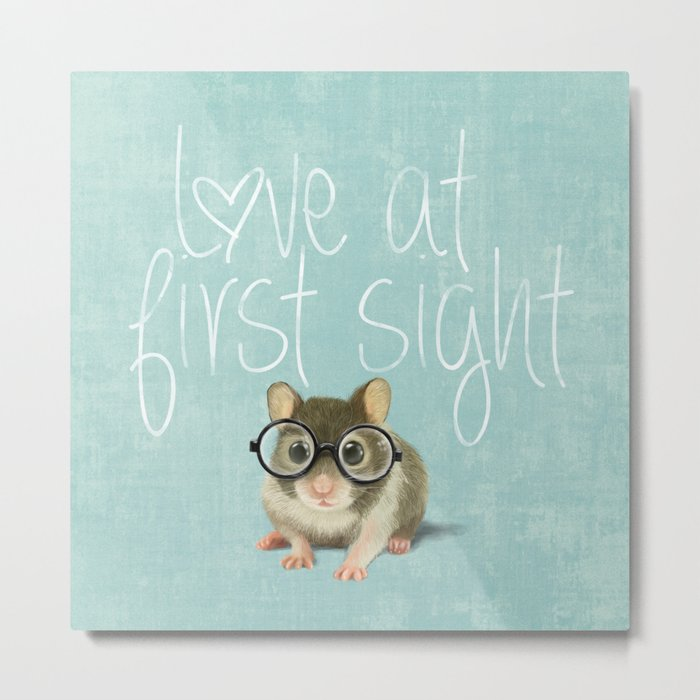Little mouse in love Metal Print