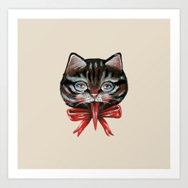 Cute Krampus cat face with red bow Art Print