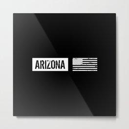 Black & White U.S. Flag: Arizona Metal Print