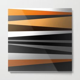 Metallic II - Abstract, geometric, metallic effect stripes, gold, silver, black Metal Print