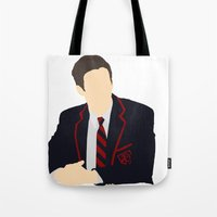 glee Tote Bags featuring Sebastian Smythe - Grant Gustin - Glee - Minimalist design by Hrern1313