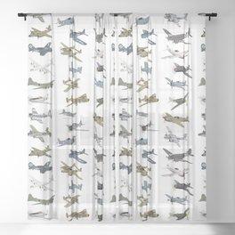 Various American WW2 Airplanes Sheer Curtain