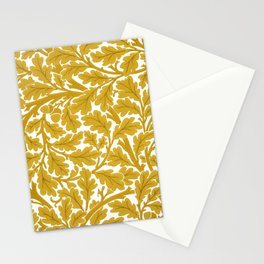 William Morris Oak Leaves, Mustard Yellow & White Stationery Cards