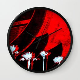 Surf in the City - Black + Red Wall Clock