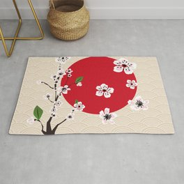 Japanese cherry blossom painting Rug