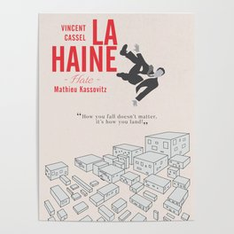 La Haine (Hate) Vincent Cassel, Mathieu Kassovitz, alternative movie poster, banlieue french film Poster