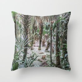 Palm Trees in the Green Swamp Throw Pillow