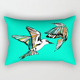 Dancing Rainbow Bee Eater Birds Rectangular Pillow