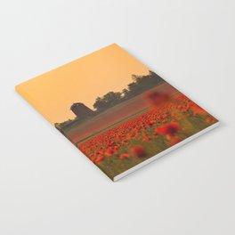 Red Poppys Field Weadow Landscape Notebook