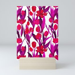 Pink and Red Tulips in Watercolor Mini Art Print