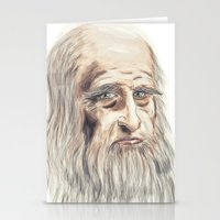 da vinci Stationery Cards featuring Leonardo da Vinci Colorful by André Minored