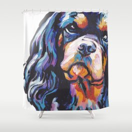 black and tan Cavalier King Charles Spaniel Dog Portrait Pop Art painting by Lea Shower Curtain