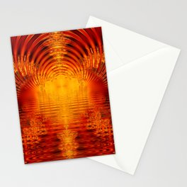 Abstract Fractal Golden Red Tunnel of Light Stationery Cards