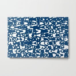 Classic blue, flying white pieces and small particles free in the space, relaxing texture design Metal Print