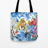angel Tote Bags featuring Angel by Shelley Ylst Art