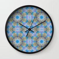 finland Wall Clocks featuring Finland Kaleidoscope by Lu Haddad