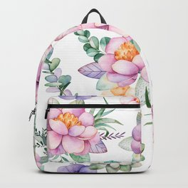 Pastel pink lavender green watercolor hand painted floral Backpack
