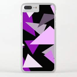 Purple Triangels on black background Clear iPhone Case
