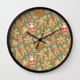 Gingerbread Man Pattern Wall Clock