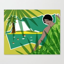 ANACAPRI: Art Deco Lady in Green and Yellow Canvas Print