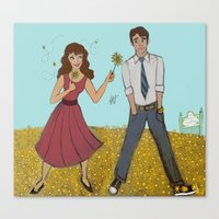 pushing daisies Canvas Prints featuring Pushing Daisies by LeahDraws