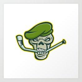 Green Beret Skull Ice Hockey Mascot Art Print