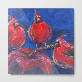 Cardinals and Hibiscus Metal Print