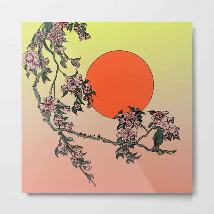 Pugry Blossom Metal Print