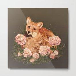Juniper the Fox & Peonies Metal Print