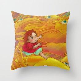 Flight of the Goldfish Throw Pillow