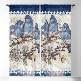 Vintage Blue Birds Blackout Curtain
