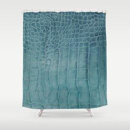Croco leather effect - Aqua blue Shower Curtain