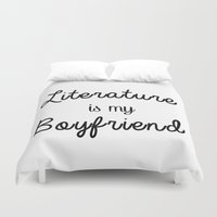 boyfriend Duvet Covers featuring literature is my boyfriend  by Beautiful Bibliophile's Boutique
