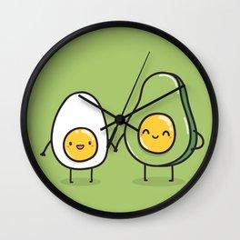 Egg and avocado Wall Clock