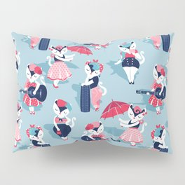 Rockabilly cats // pastel blue background white pin-up cats in fancy red pink and navy blue outfits Pillow Sham