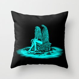 Angel lost in thought , black and green Design Throw Pillow
