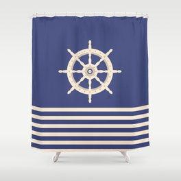 AFE Navy & Beige Helm Wheel Shower Curtain