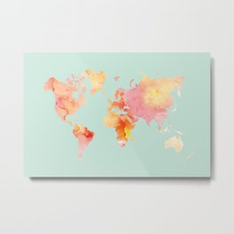 World Map Watercolor, Blush and Mint Palette Metal Print