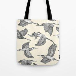 great blue herons pearl Tote Bag