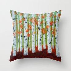 Atumn Birch trees - 5 Throw Pillow