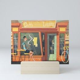 Fausto Coppi enjoys a mid-ride espresso Mini Art Print