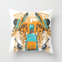 tequila Throw Pillows featuring Tequila Duel by Tshirt-Factory