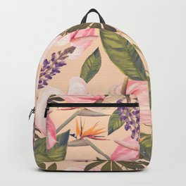 seamless  pattern with  flowers and leaves. Endless texture Backpack