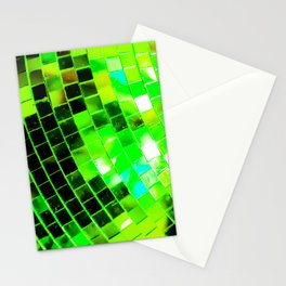 Funky Green Disco Ball Stationery Cards