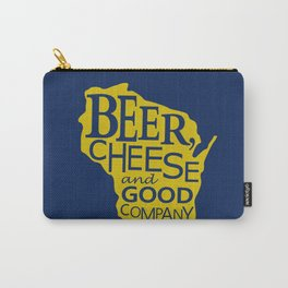 Blue and Gold Beer, Cheese and Good Company Wisconsin Graphic Carry-All Pouch