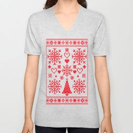Christmas Cross Stitch Embroidery Sampler Red And White Unisex V-Neck