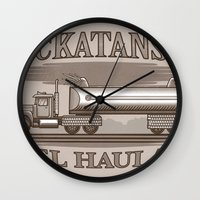 pocket fuel Wall Clocks featuring Rockatansky Fuel Haulage by Doodle Dojo