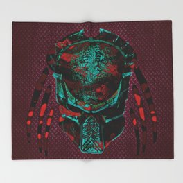 Soldier Predator Red Teal Throw Blanket